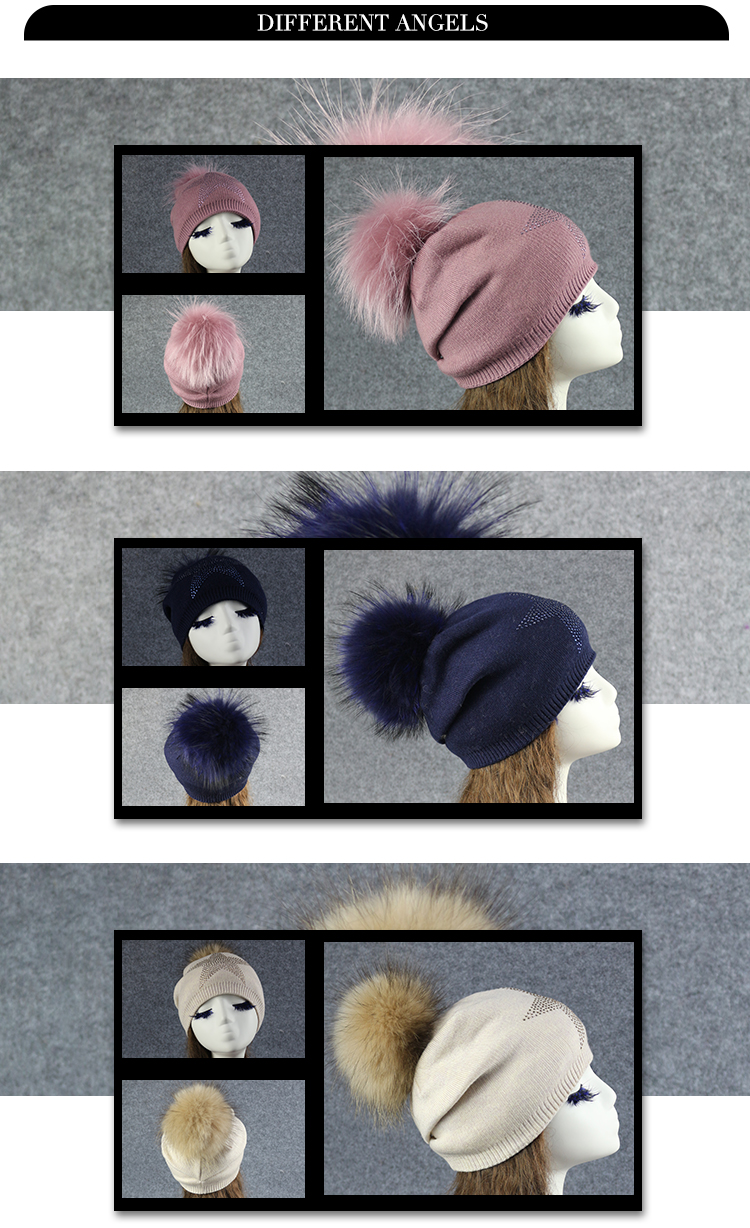 Janefurs factory sells women's knitted cashmere hats pompom hat for spring