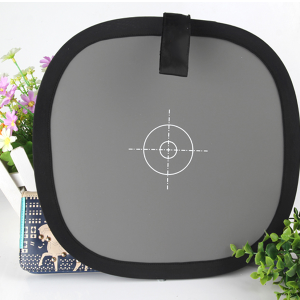 12 Inch 30cm 18% Foldable Gray Card Reflector Photograph Studio White Balance Double Face Focus Board with Carry Bag