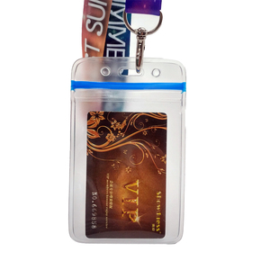 vinyl clear pvc ID/member card pouch with holding clip