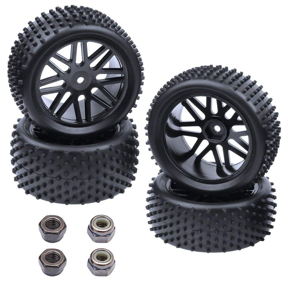 (4-Pack) HobbyPark 1/10 Scale Off Road Buggy Tires & Wheel Rims Set Front and Rear 12mm Hex Hubs with Foam Inserts For RC Hobby Car
