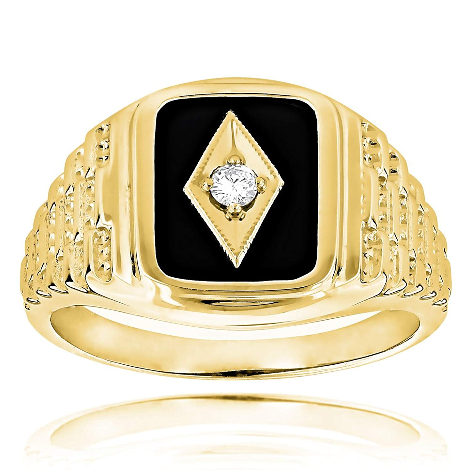 Luxurman Black Natural Onyx And Real 0.1 Ctw Diamond 14K Gold Mens Vintage Ring For Him