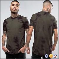 KY wholesale new arrival men short sleeve longline cut tie dye printed khaki t shirts