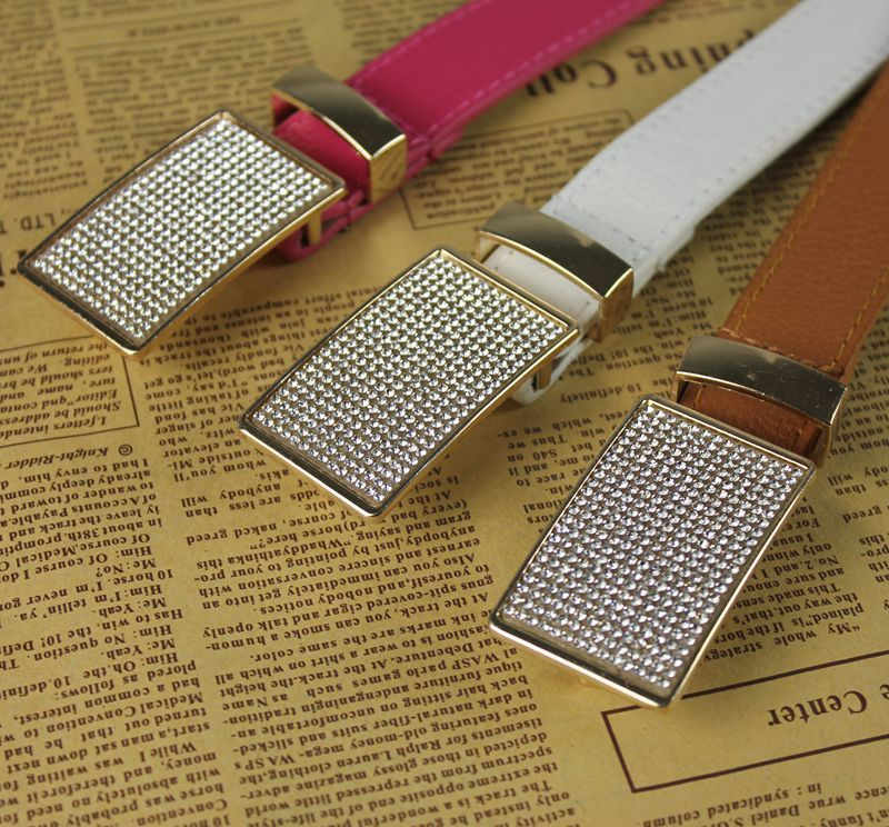 Handmade Band 110cm pu leather lady/women belts with rhinestone buckle