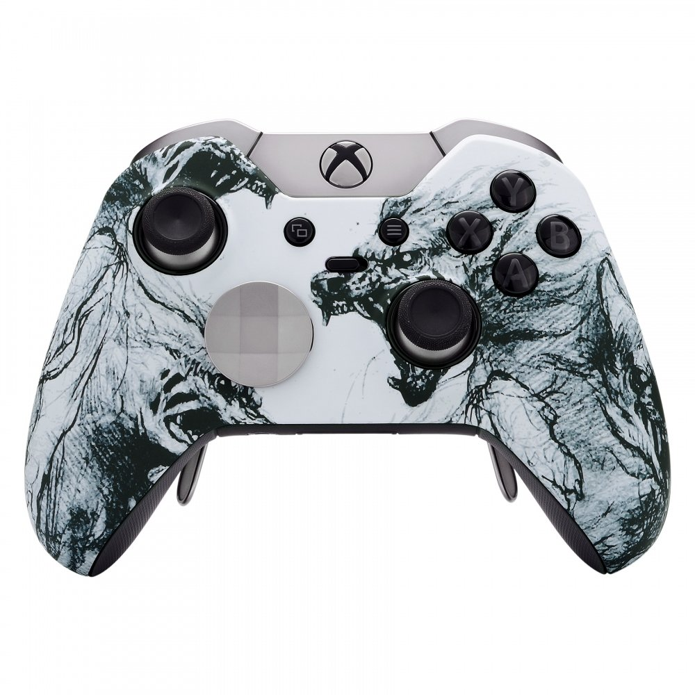 eXtremeRate Soft Touch Grip Wolf Soul Front Housing Shell Faceplate for Microsoft xbox one elite Controller with Thumbstick Accent Rings