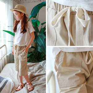 New Model Girl's Beige Color Half Length Lace Up Casual Pants In Cheap Price