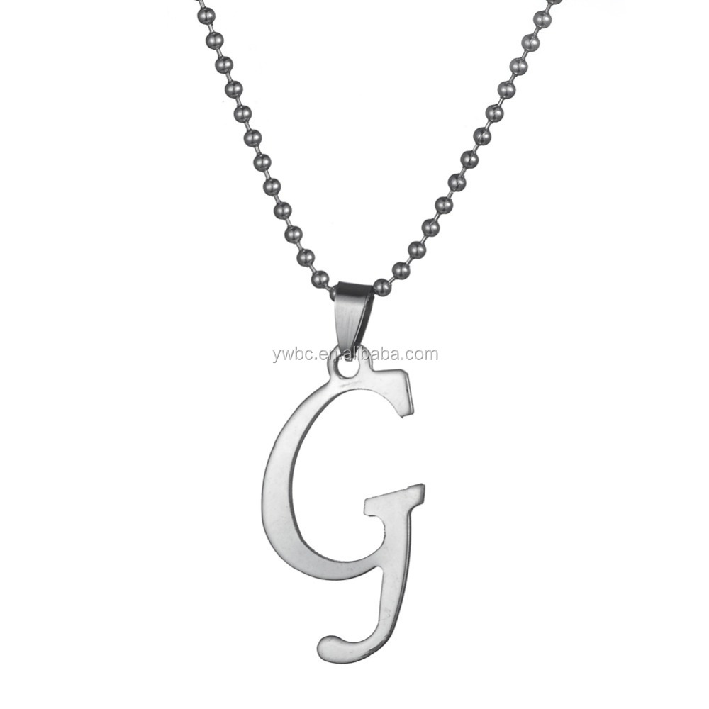 Eco-Freind Custom 공장 보석 Stainless Steel silver 톤 26 Letters to Choose 알파벳 G 펜 던 트 Necklace