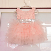 2018 Summer new design children clothes baby girl pearls lace princess party dress kids back bowknot wedding full dress