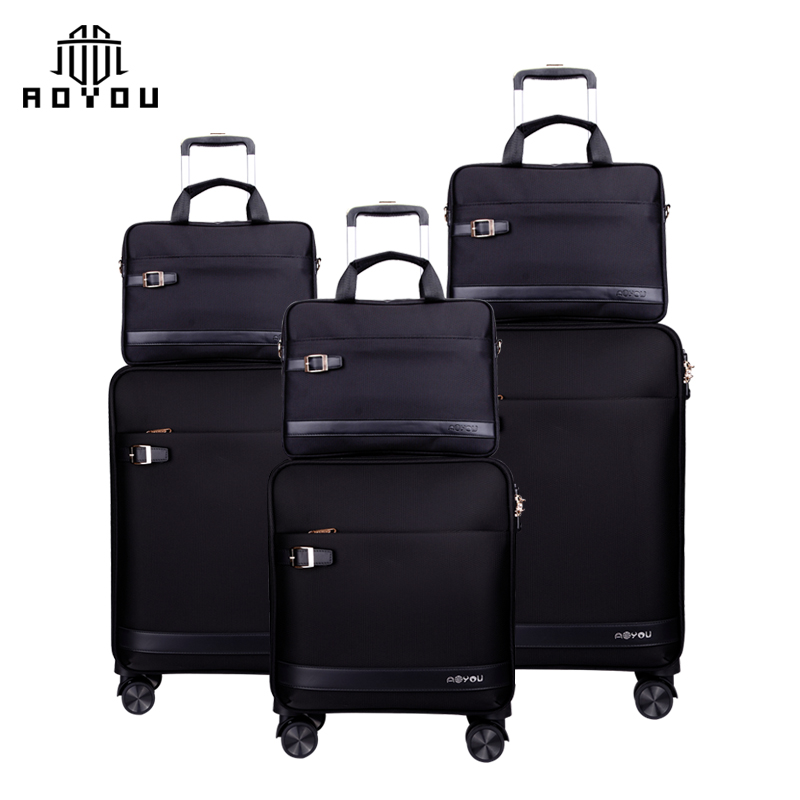 Carry-on Travel 3Pcs 16/20/24 inch nylon Cabin Trolley Luggage black suitcase