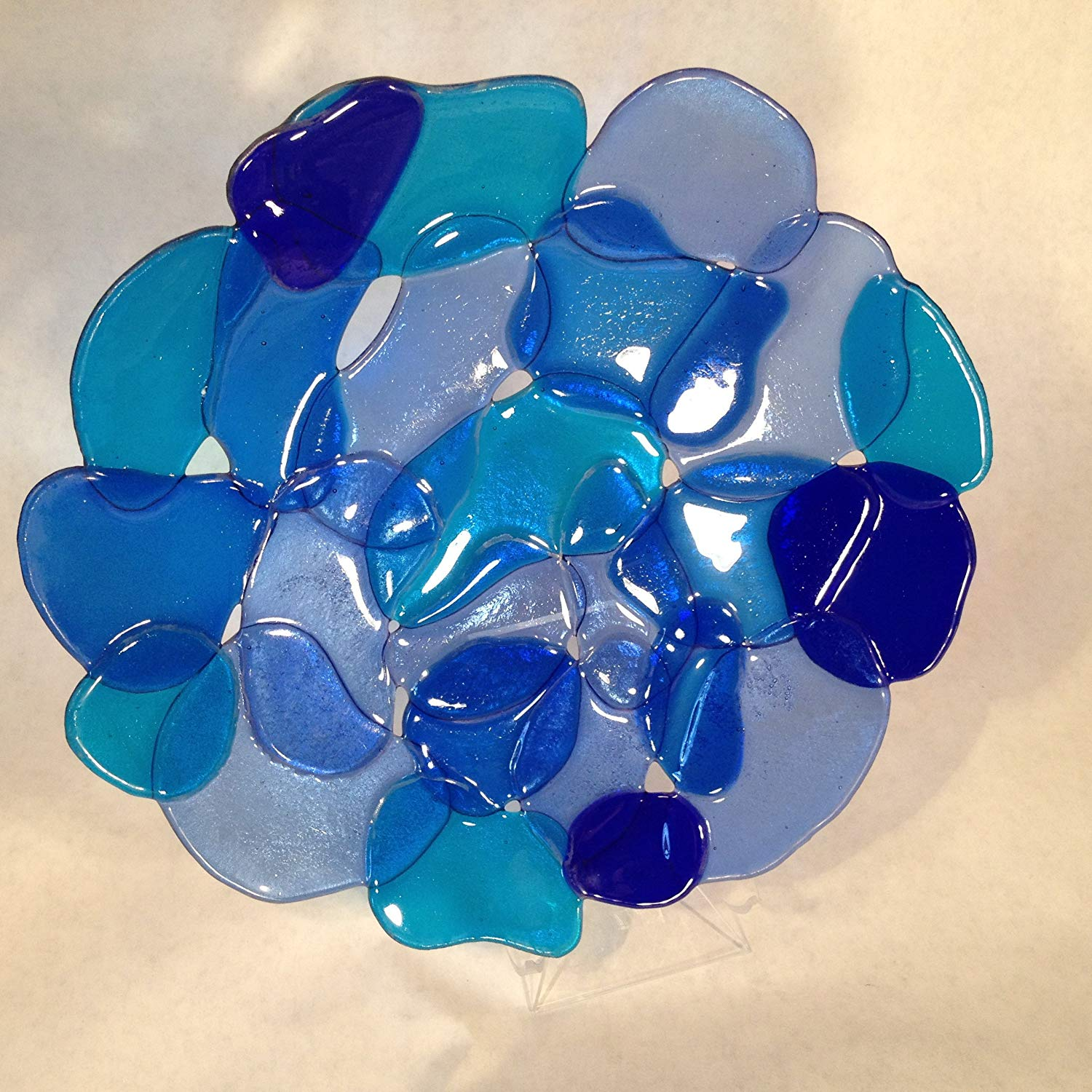 """Sea Glass"" Fused Glass Platter"