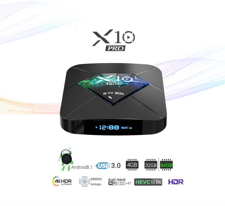 Wholesale X10 PRO 2GB/4GB LPDDR4 ram s905x2 android 8.1 smart tv set top box 4k