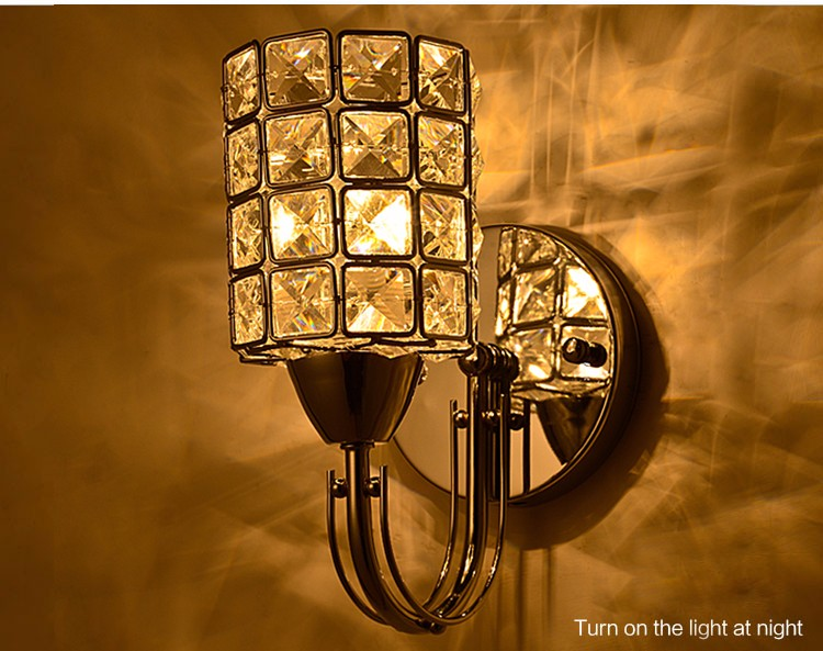 Modern Home Decor Crystal Glass Wall Sconce With Power