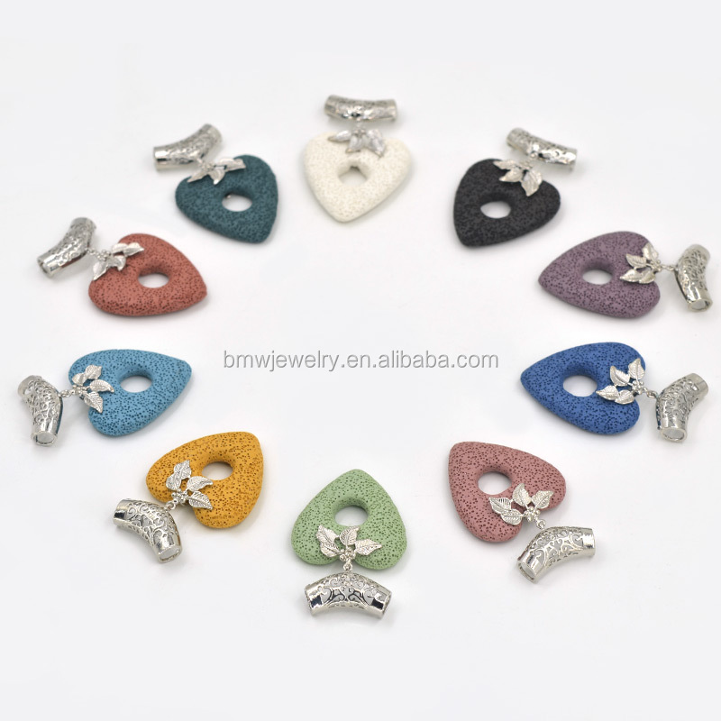 Lava Rock beads Center hole pendants Volcano Rough Natural stone heart charms Jewelry Craft making