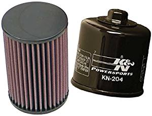 K&N Motorcycle Air Filter + Oil Filter Combo 2007-2009 Yamaha YFM350 Grizzly Auto 4x4 IRS / YA-3504 + KN-204