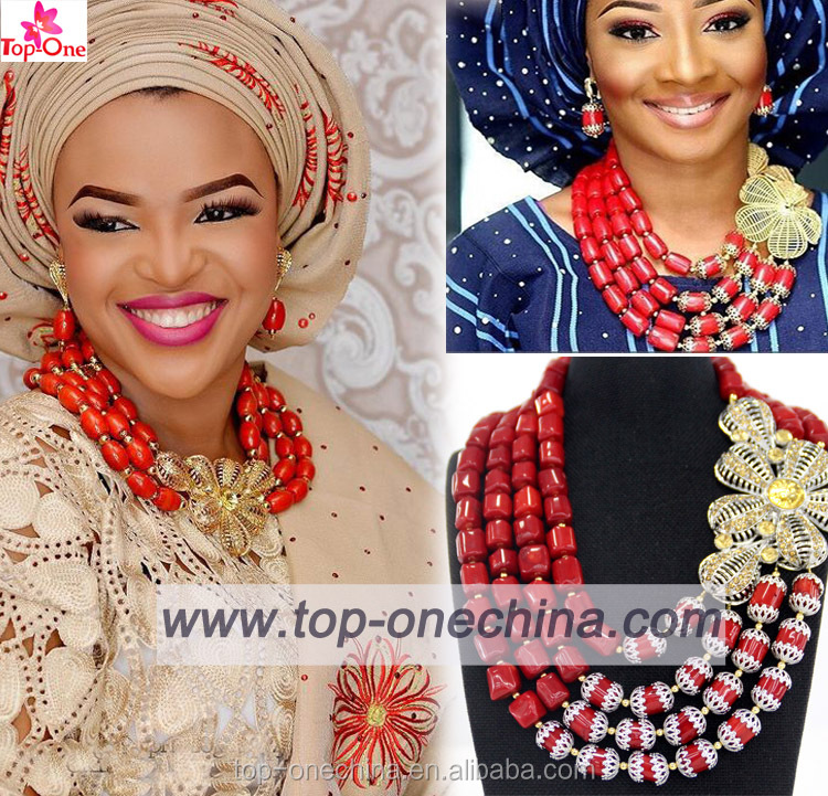 latest nigeria wedding coral beads for bridal jewelry sets