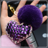 KC96 cute plush large rhinestone keyring fur ball rhinestones heart heart shaped key chain keychain pom pom keychain