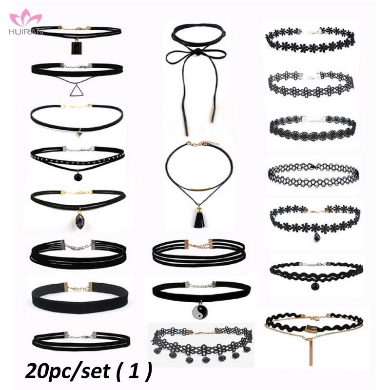 2017 Summer Europe Style 20pc Set Black Choker Necklace