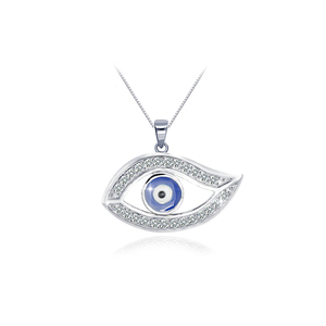Turkish 925 sterling silver blue zircon custom devil eye necklace