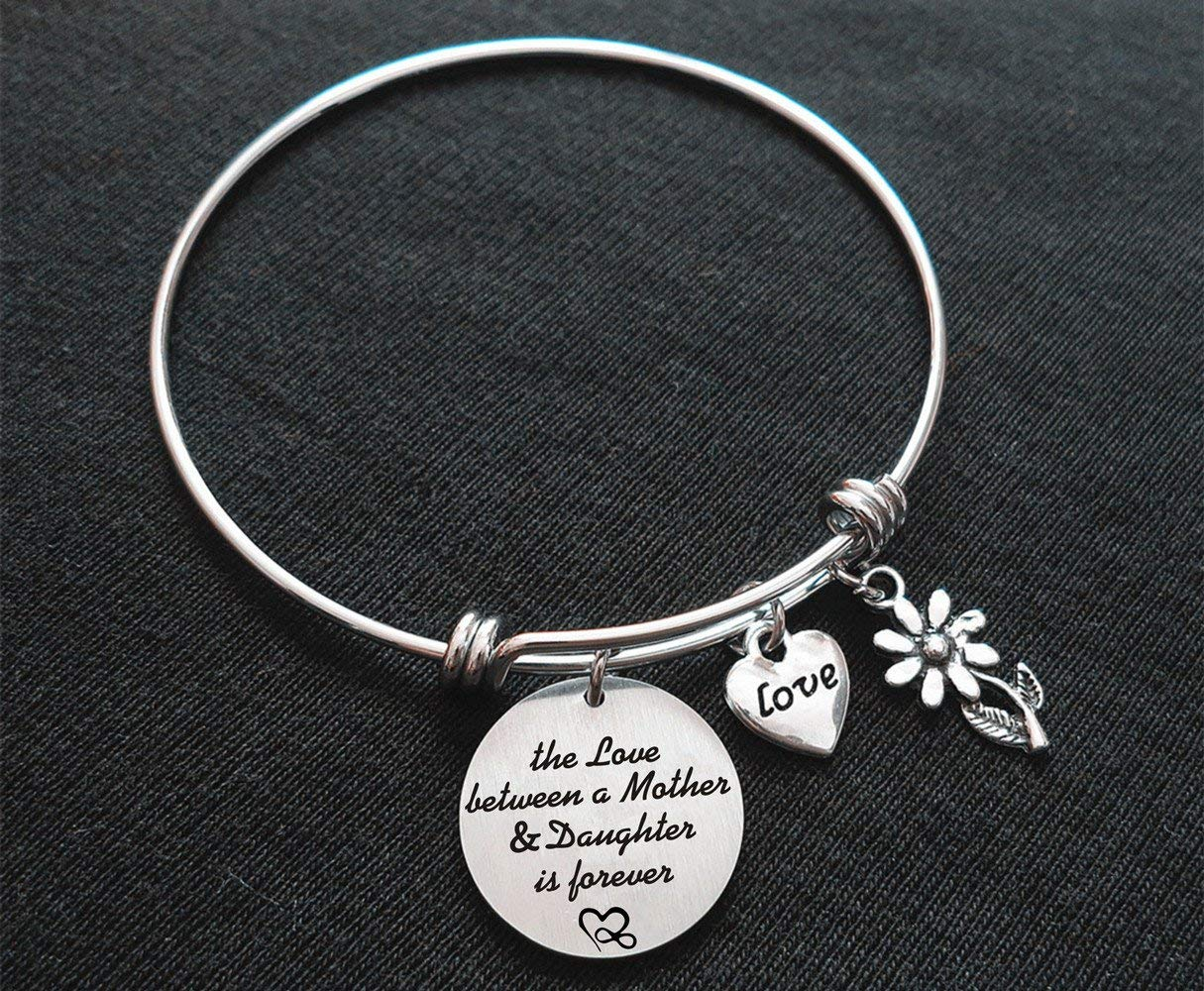 Mom Bangle Bracelet The Love Between Mother and Daughter Is Forever Mom Gifts From Daughter,Mother's Day Gifts,Christmas Gifts for mom