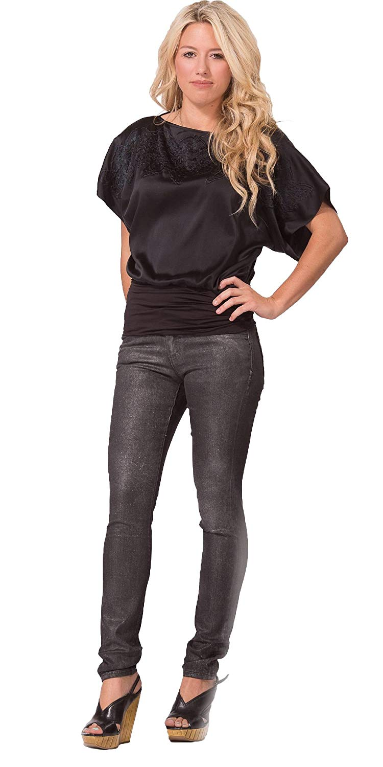 9c7e356021661 Get Quotations · Metallic Coated Black Skinny Jeans | Womens and Juniors  Low Rise Legging Jeans