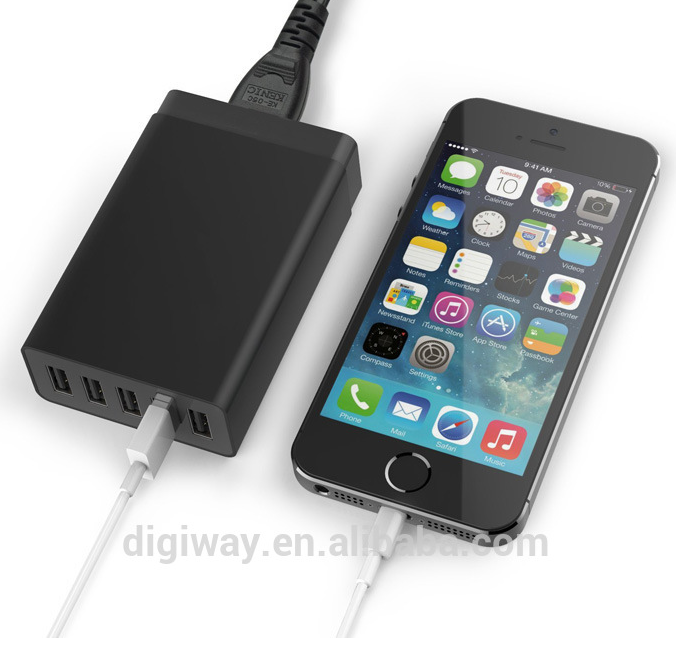 Super speed 5V 5A 5 usb port qc 2.0 wall charger compatible with most 5V USB-charged devices