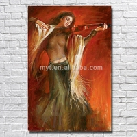 Beautiful woman sexy chinese nude girl painting full sexy photos playing violin canvs wall art
