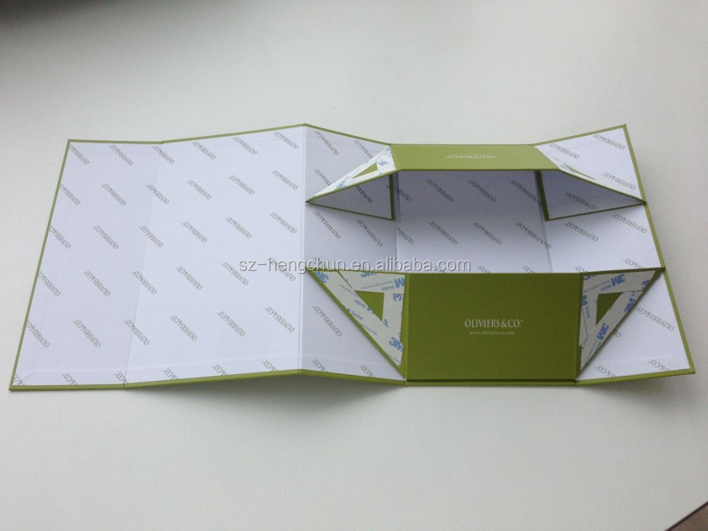 custom high quality green flat folable olive oil box