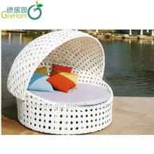 Elegant Chinesisch Freien Weißem Kunststoff Rattan Geflochtenen Runden Liegestühlen