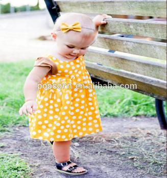 2d9efaf88f Fashion Mustard Yellow Polka Dot Baby Summer Toddler Girl Kids Pearl Tunic  Dress - Buy Kids Pearl Tunic Dress