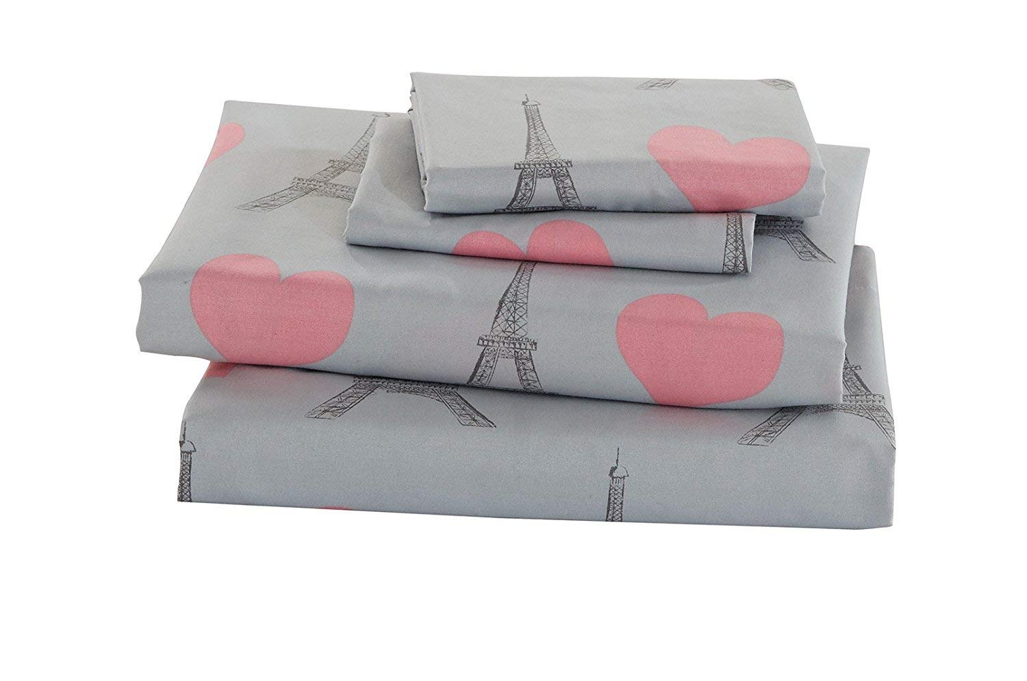 Queen Elegant Home Multicolors Pink Grey Paris Eiffel Tower Bonjour Design with Hearts Fun Printed Sheet Set with Pillowcases Flat Fitted Sheet for Girls//Kids//Teens # Paris