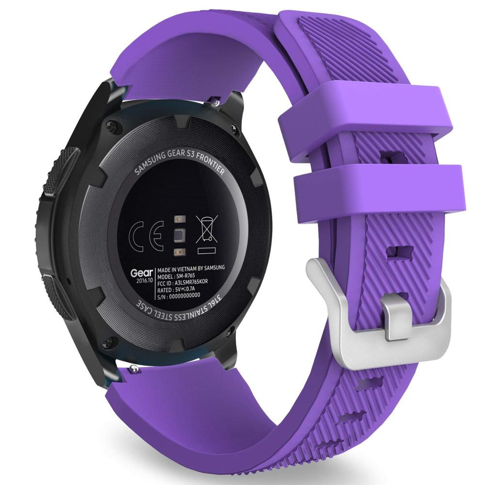 Soft Silicone Wristbands Replacement Strap with Chrome Buckle Clip for Samsung gear S3/pebble time/Ticwatch Smart Watch