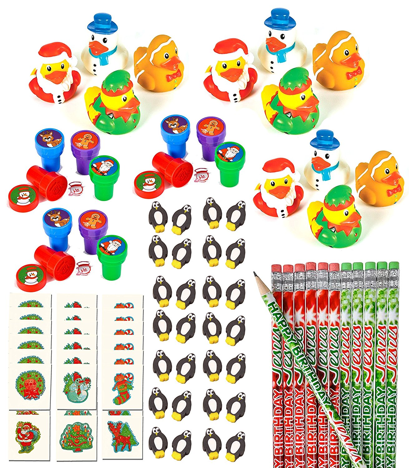 100 Piece Bulk Christmas Themed Party Favor Assortment Pack for Kids Stocking Stuffers, Holiday Parties, or Classroom