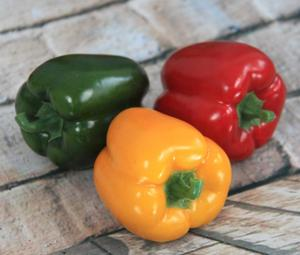 8.3X8+1.3CM HANDMADE HIGH QUALITY ARTIFICIAL/DECORATIVE SIMULATION VEGETABLE RED/GREEN/YELLOW PEPPER