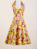 uk vintage style clothing manufacturer yellow floral print pattern halter dress online