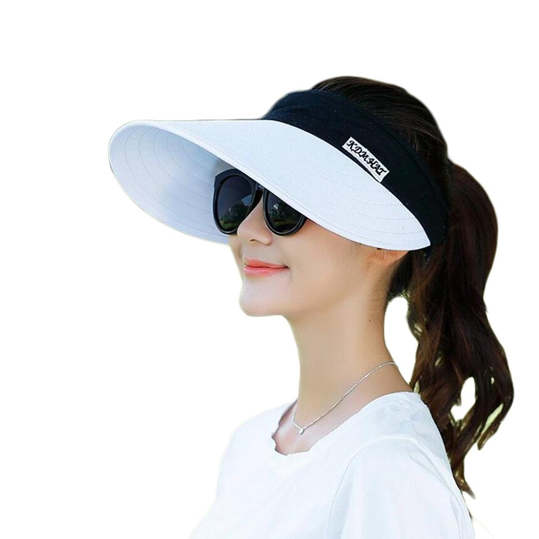 e674b75d Get Quotations · FuzzyGreen Large Brim Sun Hat, Summer UV Protection Beach  Sun Hat Adjustable Packable Packable Cap
