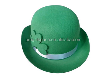 China suppliers St. Patrick s Day green wool fabric bowler top hat  wholesale with ribbon shamrock 54d944ac3a7b