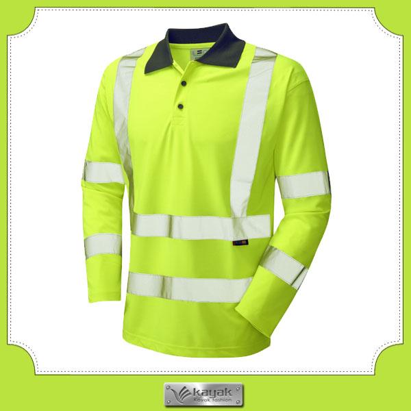 Custom 3m cotton reflective stripe safety polo t shirt for Work uniform polo shirts