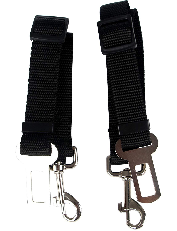 Pustor Adjustable Strap Dog Seat Belt Leash Pet Safety Leash Buckle For Cars Pack of 2