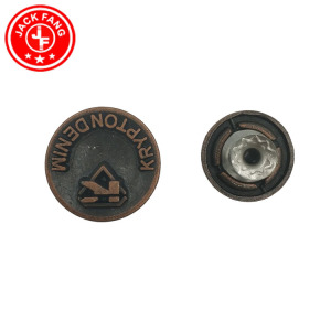 Embossed Logo Customized Metal Shank Jeans Button For Denim