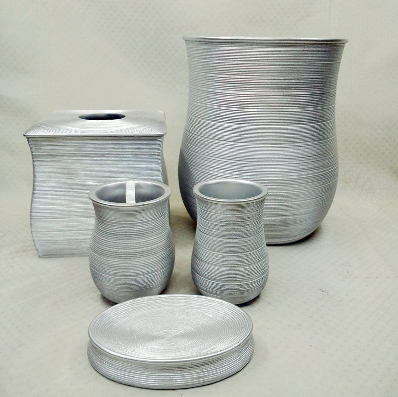 Alexa brushed silver traditional resin bathroom accessories set