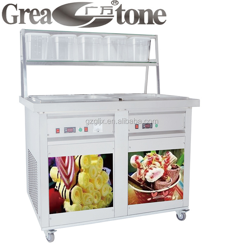 Factory Fried Roll Ice Cream Machine, 220V 50Hz, Stainless steel shelf