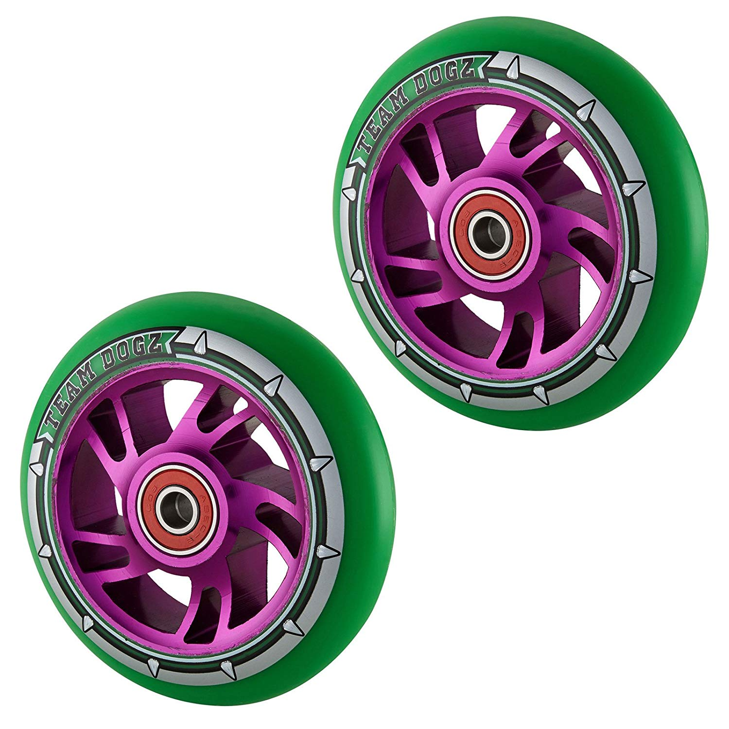 Team Dogz 100mm Swirl Scooter Wheels - Purple Cores Green Tyres (Pair)