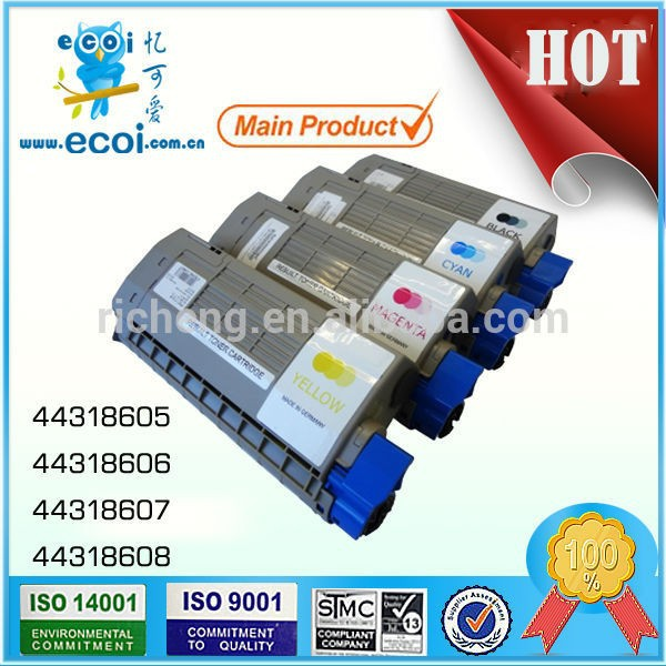 China compatible remanufacturing color OEM Ink Cartridge 44318605 44318606 44318607 44318608 for Okidatas C710 C711 Printer