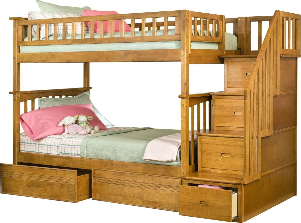 Columbia Staircase Twin over Twin Bunk Bed | Flat Panel Drawers | Caramel Latte