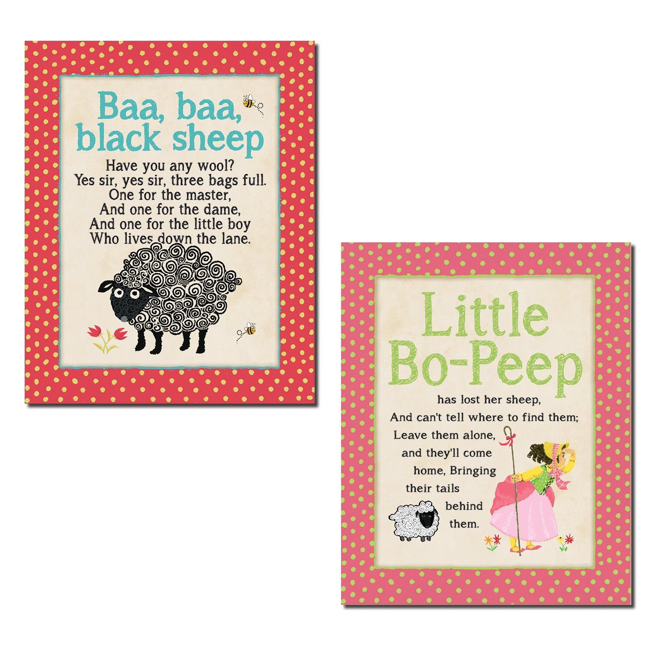 "Adorable Polka Dot Nursery Rhyme ""Baa, Baa Blacksheep"" and ""Little Bo-Peep""; Perfect for a Child's Room or Nursery; Two 11x14in Poster Prints"