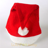 promotional plush red and white Xmas Santa Christmas hat for baby and adult