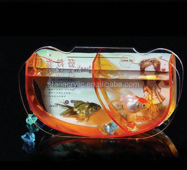 Clear Acrylic Gold Fish Bowl Tank , Acrylic Decoration Table Free Standing 2 Pockets Fish Tank
