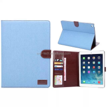 Jeans leather Stand Holder Credit Card Slot Photo Frame Flip Case For iPad air 2
