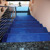 Dark blue customized patterned fused glass stair