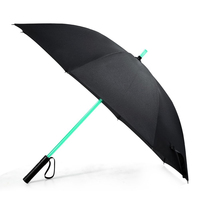 LED Laser Sword Light up Flashing Golf Umbrellas with 7 Color Changing On the Shaft/ Built in Torch at Bottom