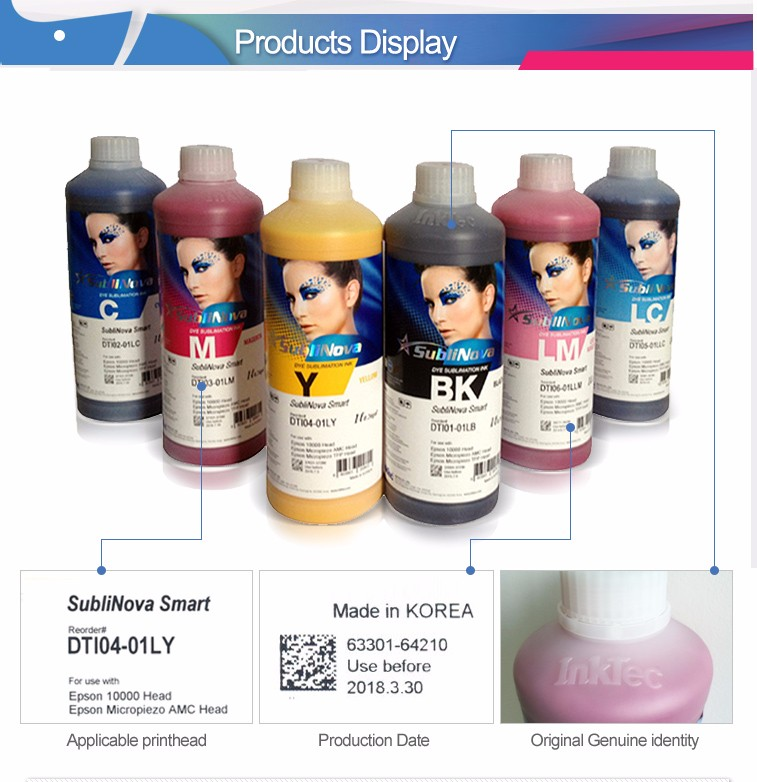 도매 Korea original digital heat transfer 잉크 테크 sublinova dye 승화 잉크 대 한 T-shirt printing